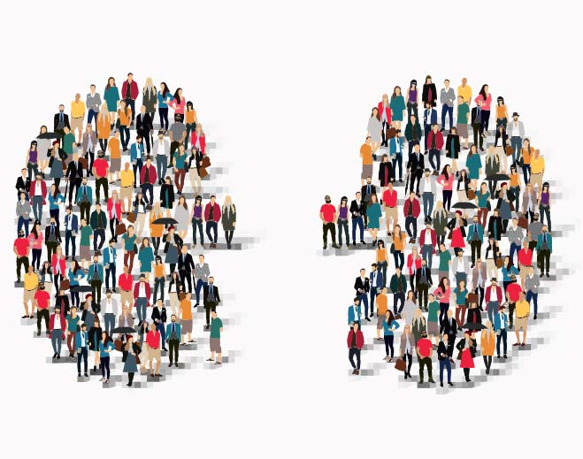 people standing in the shape of two kidneys